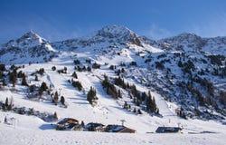 Ski slope in austrian alps Royalty Free Stock Photo