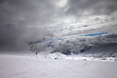 Ski slope at bad weather Stock Photos