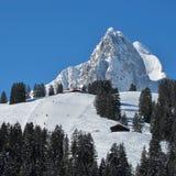 Ski slope and beautiful mountain named Rubli Stock Photos