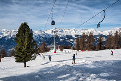 Ski slope for beginners in the Alps, Veysonnaz, Switzerland Royalty Free Stock Image