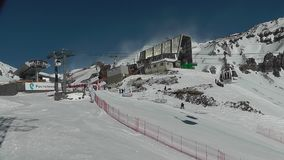 Ski slope and the cable car stock footage
