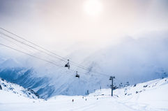 Ski slope and cable car on the ski resort Elbrus Stock Photos