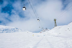 Ski slope and cable car on the ski resort Elbrus Royalty Free Stock Photo