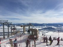Ski slope and chair lift in wyoming stock photos