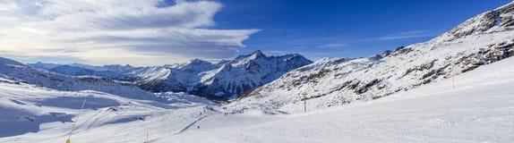 Ski slope in Champoluc. A ski slope in Champoluc`s ski area on Dufourspitze mountains Stock Photography
