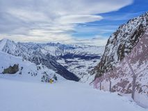 Ski slope in Champoluc. View of the Champoluc valley from a ski slope Royalty Free Stock Photo