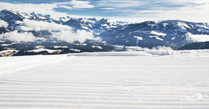 Ski slope. Closeup of a newly groomed ski slope in Alps Stock Images