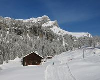 Ski slope and Eggishorn Stock Images
