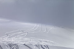Ski slope in fog Stock Image