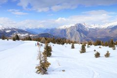 Ski slope in France Stock Photo