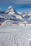 Ski slope Gornergrat with Matterhorn in background Stock Photography