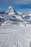 Ski slope Gornergrat with Matterhorn in background Stock Photography