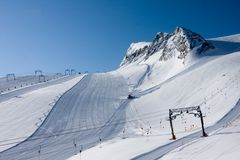 Ski slope in high alps Stock Image