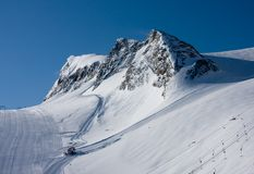 Ski slope in high alps Stock Photo