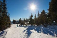 Ski slope landscape. Ski slope in High Tatras mountains. Frosty sunny day Royalty Free Stock Photo