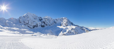 Ski-slope in the italian alps (Sulden/Solda) with Ortler in background Royalty Free Stock Photo