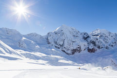Ski-slope in the italian alps (Sulden/Solda) with Ortler in background Stock Photo