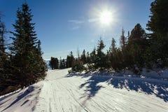 Ski slope landscape. Ski slope in High Tatras mountains. Frosty sunny day Royalty Free Stock Photography