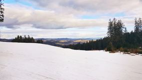 Ski Slope in Lipno, Czechia. The ski slope in Lipno, Bohemian Region of Czech Republic. Perfect ski slope of beginners Stock Images
