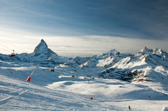 Ski slope with Matterhorn as background Royalty Free Stock Photos