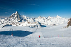 Ski slope on the Matterhorn Glacier Royalty Free Stock Photos