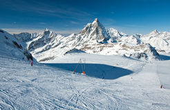 Ski slope on Matterhorn glacier Stock Image