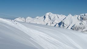 Ski slope and Mt Saentis Royalty Free Stock Photos