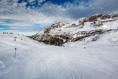 Ski Slope nahe Madonna di Campiglio Ski Resort, italienische Alpen Lizenzfreies Stockbild