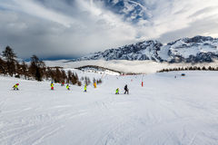 Ski Slope near Madonna di Campiglio Ski Resort, Italian Alps Stock Photography