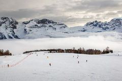 Ski Slope near Madonna di Campiglio Ski Resort, Italian Alps Royalty Free Stock Images