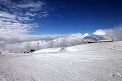 Ski slope at nice day Royalty Free Stock Image