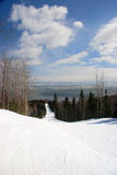 Ski slope panorama royalty free stock images