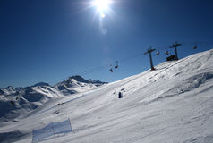 Ski slope panorama. Panaroma of ski slope. view at snowpark and skislope. livigno, italy Stock Images