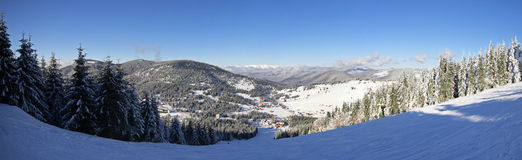 Ski slope panorama from the Carpathian Mountains Stock Image
