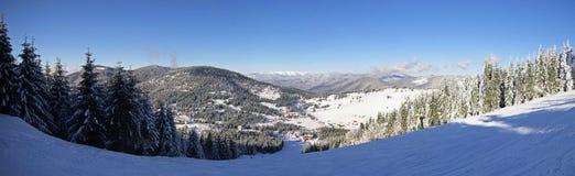 Ski slope panorama from the Carpathian Mountains Stock Image