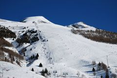 Ski slope piste, Les Deux Alpes, France Royalty Free Stock Photo