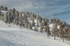 Ski slope on resort in Austrian Alps Royalty Free Stock Images