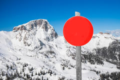 Ski slope sign in the Alps. Ski slope sign in mountain ski resort Nassfeld, Austria stock image