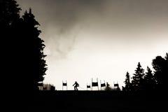 Ski slope silhouette skier Stock Photography