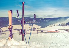 Ski Slope and Ski Equipment Royalty Free Stock Image