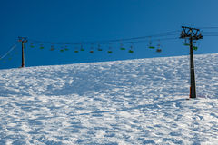 Ski Slope and Ski Lift near Megeve in French Alps. France Stock Photography