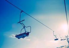 Ski Slope Ski Lift. Winter Sports Theme. Ski Slope Ski Lift Royalty Free Stock Photos