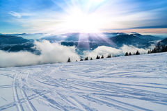 Ski slope with ski tracks. Stock Image
