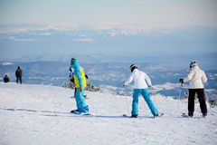Ski slope with skiers .Beautiful Winter mountain landscape from Bulgaria.rila  mountainr Stock Image