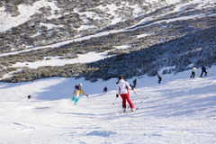 Ski slope with skiers .Beautiful Winter mountain landscape from Bulgaria.rila  mountainr Royalty Free Stock Photography