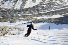Ski slope with skiers .Beautiful Winter mountain landscape from Bulgaria.rila  mountainr Stock Images