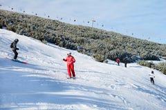 Ski slope with skiers .Beautiful Winter mountain landscape from Bulgaria.rila  mountainr Royalty Free Stock Image
