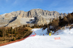 The ski slope and skiers at Passo Groste ski area Royalty Free Stock Image