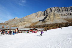 The ski slope and skiers at Passo Groste ski area Stock Photos