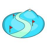 Ski slope of the snow mountain icon, cartoon style Royalty Free Stock Photos
